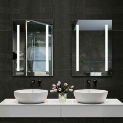 Witte Aica Sanitair LED rechthoekige badkamerspiegel 60x80cm,4mm wandspiegel,enkele touch sensor schakelaar,anti-condens
