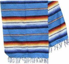 Handgeweven uit Mexico Mexicaanse deken - falsa - gerecycled acryl - 200 x 130 cm - groffe weefstructuur - Turquoise - MBXZZ0turq