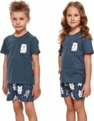Blauwe Doctor Nap Katoenen Pyama Jongens & Meisjes | Korte Mouw Korte Broek | Pyjama Jongens Meisjes | Shortama Jongens Meisjes | Bear Yourself Deep Blue PDU.4265 146/152