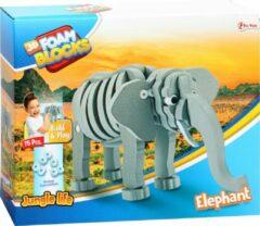 Grijze Stemen Olifant 3D puzzel van foam   Elephant Foam 3d Puzzel