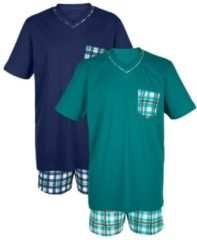 Schlafanzug - Shorty Gregory smaragd/weiß/limon