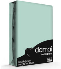 Damai Dubbel Jersey - Hoeslaken - Lits-jumeaux - 180/200x200/21/220 cm - Mineral