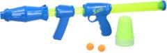 Blauwe Scatch Airpopper Gun - Ballenschieter - incl. 15 Ballen en 6 Cups - Uittrekbaar
