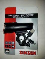 Zwarte Simson Future USB LED Koplamp 30 Lux - Krachtige Oplaadbare Koplamp