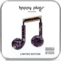 Zwarte Happy Plugs Earbud Plus - In-ear oordopjes - Paars/Roze botanisch