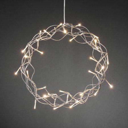 Afbeelding van Zilveren Konstsmide lichtkrans metaal - 30L LED - 32cm - zilver - warmwit