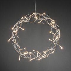 Zilveren Konstsmide lichtkrans metaal - 30L LED - 32cm - zilver - warmwit
