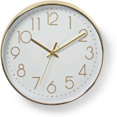 Gouden Nedis Circular Wall Clock | 30 cm Diameter | Easy To Read Numbers | Gold
