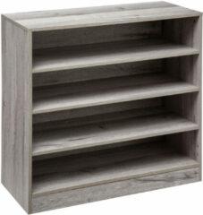 4goodz Schoenenkast 4-laags Voor 16 Paar - 30x67,5x68 Cm - Grijs Eiken