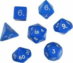 N00b Polydice set - Polyhedral dobbelstenen set 8 delig | dungeons and dragons dnd dice| D&D Pathfinder RPG| set van 7 in velours bewaarzakje / pouch / bag | Blauw