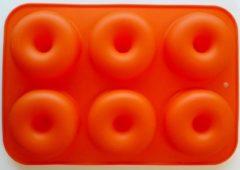 Oranje Merkloos / Sans marque Siliconen Donutvorm - Donut Bakvorm - Goede Kwaliteit - Anti Kleeflaag - 6 Donuts - Zelf Donuts Bakken