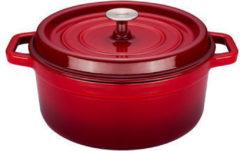 Rode Sola Braadpan - Gietijzer - Rood - Met deksel - Ø20 cm