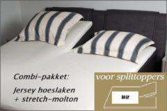 Witte Cevilit Hoeslaken Split topper jersey hoeslaken (WIT) + stretch-molton 160 x 200-220. Combi-voordeelpak