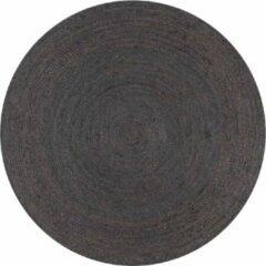 VidaXL Vloerkleed handgemaakt rond 90 cm jute donkergrijs