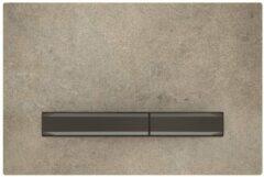Geberit Sigma50 bedieningplaat met dualflush frontbediening voor toilet/urinoir 24.6x16.4cm zwartchroom / betonlook 115.671.JV.2