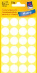 Avery-Zweckform 3170 Etiketten à 18 mm Papier Wit 96 stuk(s) Permanent hechtend Etiketten voor markeringspunten