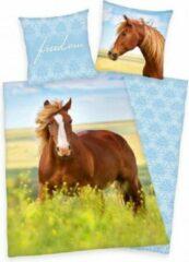Blauwe Herding Paarden Dekbedovertrek 140x200 , Bruin paard in bloemenweide , omkeerbaar motief , Meisjes dekbed