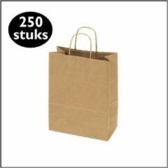 Bruine Kadoonline etiketten 250 papieren draagtassen kraft mini S (18 x 8 x 24cm)