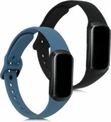 Antraciet-grijze Kwmobile 2x horlogeband voor Samsung Galaxy Fit (SM-R370) - siliconen band voor fitnesstracker - antraciet / zwart