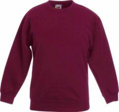 Bordeauxrode Fruit Of The Loom Kids Unisex klassieke 80/20 set-in sweater (Bordeaux)