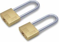 Merkloos / Sans marque 2x stuks hangslot / hangsloten met hoge beugel 3 x 5,8 cm - veiligheidsslot staal - sloten / fietssloten / koffersloten