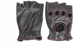 Swift racing vingerloze, auto handschoenen | mannen / vrouwen | zwart-rood leer | maat XS