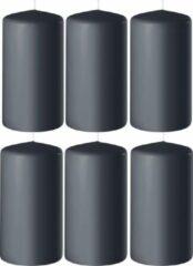Enlightening Candles 8x Antraciet grijze cilinderkaarsen/stompkaarsen 6 x 10 cm 36 branduren - Geurloze kaarsen antraciet grijs - Woondecoraties