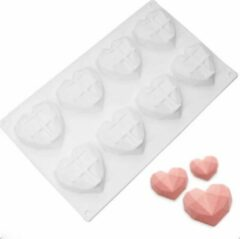 Witte Akyol Siliconen mal harten - siliconen 3d hart Bakvorm -tiktok bakvorm -tiktok bakken- chocolade -diamant -cake -bakvorm hart - siliconen hart zeep -Bonbons - Mold - Bakvormen - Koken - Chefkok - Bakken - Keukenaccessoires - Cadeau - Gift
