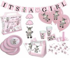 Tib Feestpakket It's A Girl Papier Roze 53-delig