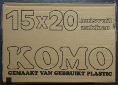 Donkergrijze KOMO huisvuilzakken - doos - 15 rollen x 20 stuks