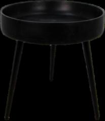 Zwarte HSM Collection Bijzettafel Ventura - ø40 cm - mangohout/ijzer - black wash