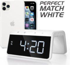 Witte Caliber HCG019QI-WA - Wekker met draadloos laden - White
