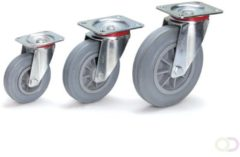 Fetra Zwenkwiel 160 x 40 mm, Massief streeploos rubber wiel