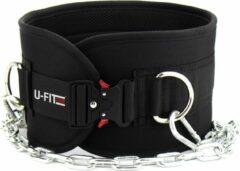 Zwarte U-Fit One U Fit One® Dip belt - Lifting belt - Dipping belt - Gewicht riem - Lifting straps - Powerlift Riem - Halterriem - Fitness - Crossfit - Calisthenics - ufitone