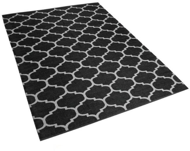 Afbeelding van Beliani Outdoor tapijt zwart-wit 140x200 cm tweezijdig ALADANA