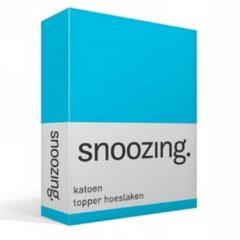 Snoozing katoen topper hoeslaken - 100% katoen - 1-persoons (90x220 cm) - Blauw, Turquoise