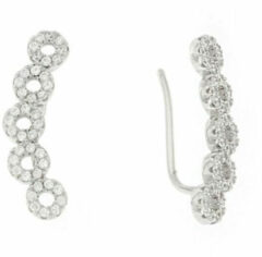 Classics&More Lovenotes oorbellen - earcuffs - oorklimmer - zilver - gerodineerd - rondjes - zirkonia