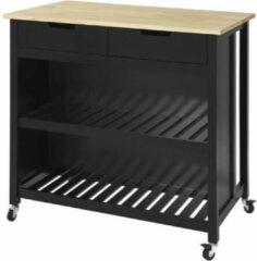 Zwarte Simpletrade Keukentrolley - Keukeneiland - Lade - 2 schappen - Hout - 100x60x94 cm