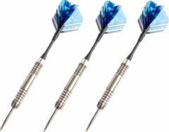 Merkloos / Sans marque 9x Dartpijlen set in opberg etui 24 grams - Darten sport artikelen pijltjes zwart/blauw