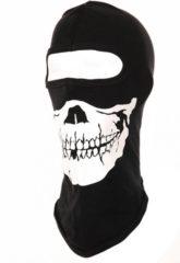 One hole motorhelm muts / skimuts skelet - zwart / wit - one size - outdoor / bivak / wintersport / ondermuts - eengaats balaclava