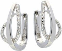 Elegance Zilveren Oorbellen klapcreolen met zirconia 107.6151.00