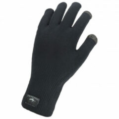 Zwarte Sealskinz Waterproof All Weather Ultra Grip Knitted Fietshandschoenen Unisex - Maat S