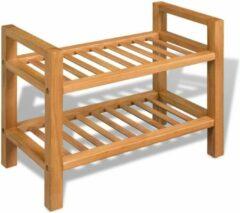 Bruine Merkloos / Sans marque Schoenenrek hout rek voor schoenen keukenrek 2 laags planken open kast