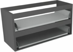 Antraciet-grijze Sub 16 wastafelonderkast met 2 lades zonder fronten 100 x 52 cm, antraciet
