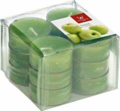 Trend Candles 12x Geurtheelichtjes appel/groen 4 branduren - Geurkaarsen appelgeur - Waxinelichtjes