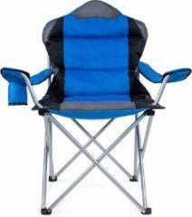 Somultishop Campingstoel, vouwstoel, festivalstoel, klapstoel, blauw, met bekerhouder, opbergtas