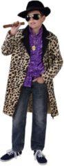 Bruine Magic by freddy Grappig & Fout Kostuum | Gruwelijk Foute Gangster Jas Luipaard Jongen | Maat 128 | Carnaval kostuum | Verkleedkleding
