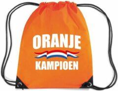 Bellatio Decorations Oranje kampioen rugzakje - nylon sporttas oranje met rijgkoord - Nederland supporter - EK/ WK voetbal / Koningsdag