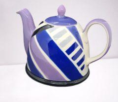 Merkloos / Sans marque Theepot - Theepot Keramiek - handgemaakt en geschilderd - paars - blauw - 850 ml