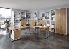 Bürokombination Alteiche/ Brillant weiss mit Schreibtischwinkelkombination und Aktenschränken FMD aivlac